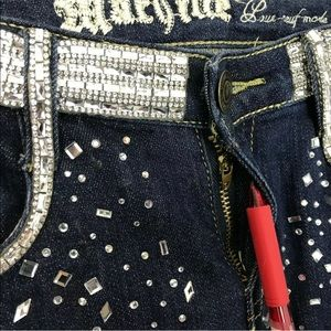 Machine Jeans - Machine Embellished Distressed Skinny Jeans 28